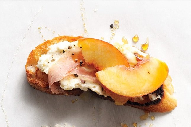 Peach, Prosciutto and Ricotta Crostini