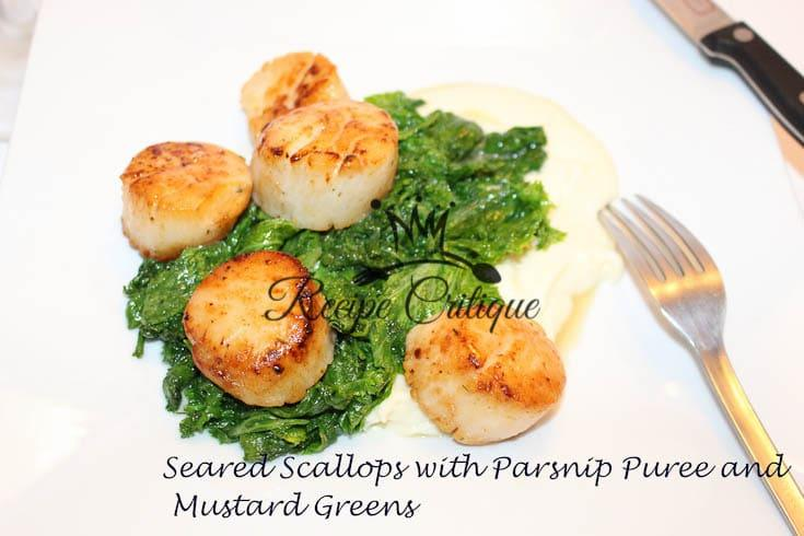 Seared Scallops with Mustard Greens and a Parsnip Puree