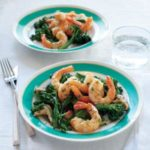 Roast Shrimp with Mushrooms, Broccolini, and a Chive Butter Sauce
