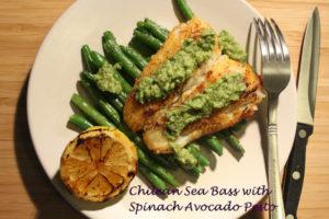Chilean Sea Bass with Spinach Avocado Pesto