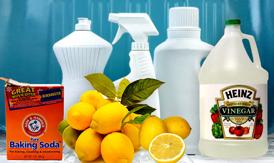 Baking soda, vinegar and lemon combine to create a powerful  organic household cleaning product