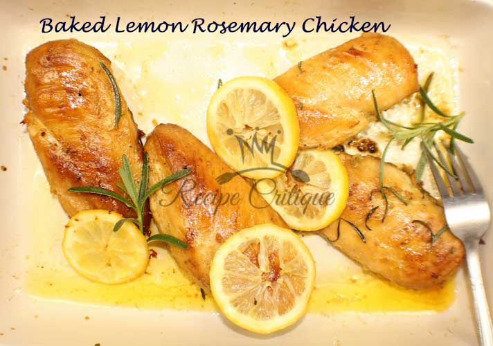 Healthy baked lemon rosemary chicken breasts