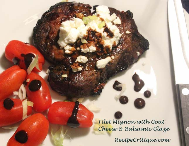 Filet Mignon  with goat cheese & Balsamic glaze