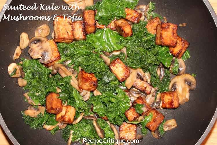 Sauteed kale with mushrooms and tofu