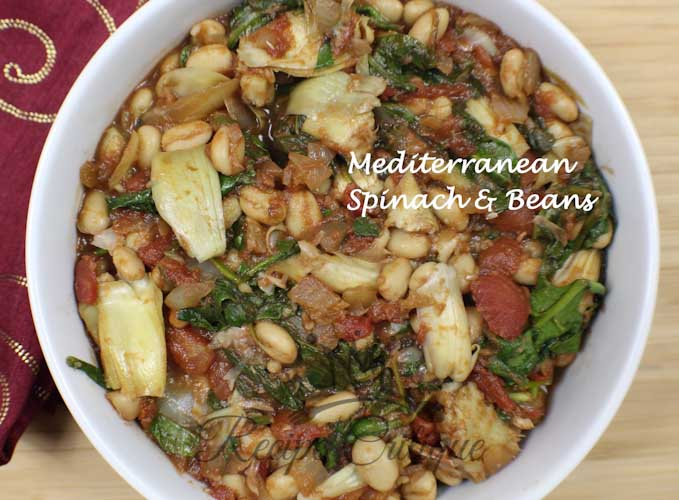 Mediterranean Spinach & Beans with Artichoke Hearts