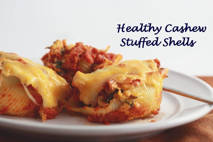 Healthy Stuffed Shells with Spinach and Cashews