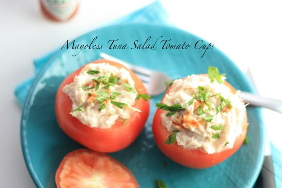 Healthy Mayoless Tuna Salad Tomato Cups