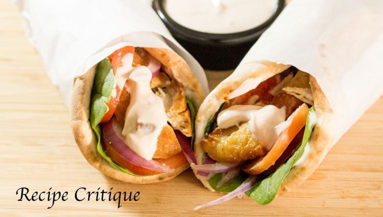 Lemon Chicken Pita Wraps with Spicy Yogurt Sauce