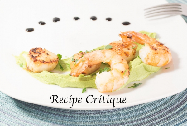 Seared scallops with shrimp and pea puree