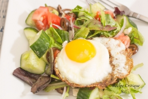 Healthy Breakfast Salad with a Crispy Fried Egg