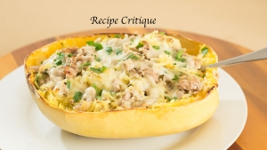 Spaghetti Squash Boats with Turkey, Spinach and Swiss Cheese